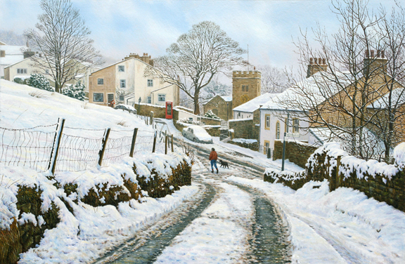 Snow scenes, winter landscape paintings by Keith Melling